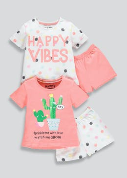 c089bb1443 Girls 2 Pack Cactus Pyjamas (9mths-5yrs)