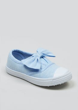Girls Bow Canvas Pumps (Younger 4-12)
