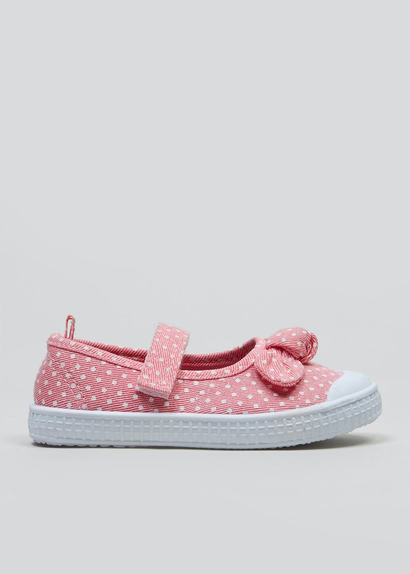 Girls Polka Dot Bow Canvas Pumps (Younger 4-12)