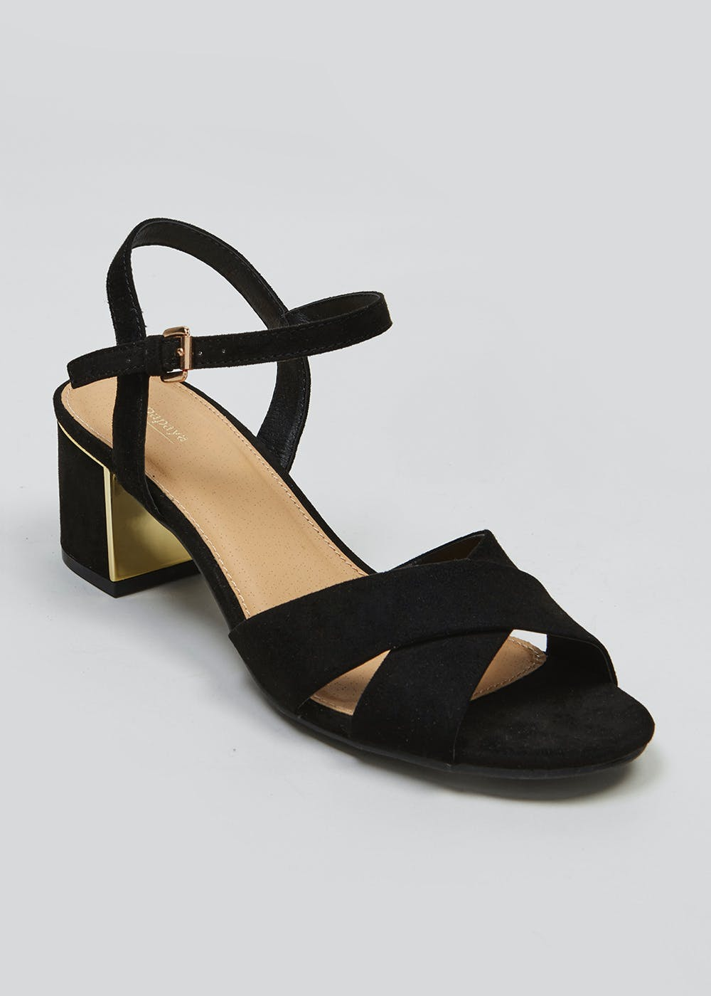 340249321113 Cross Strap Block Heel Sandals – Black – Matalan