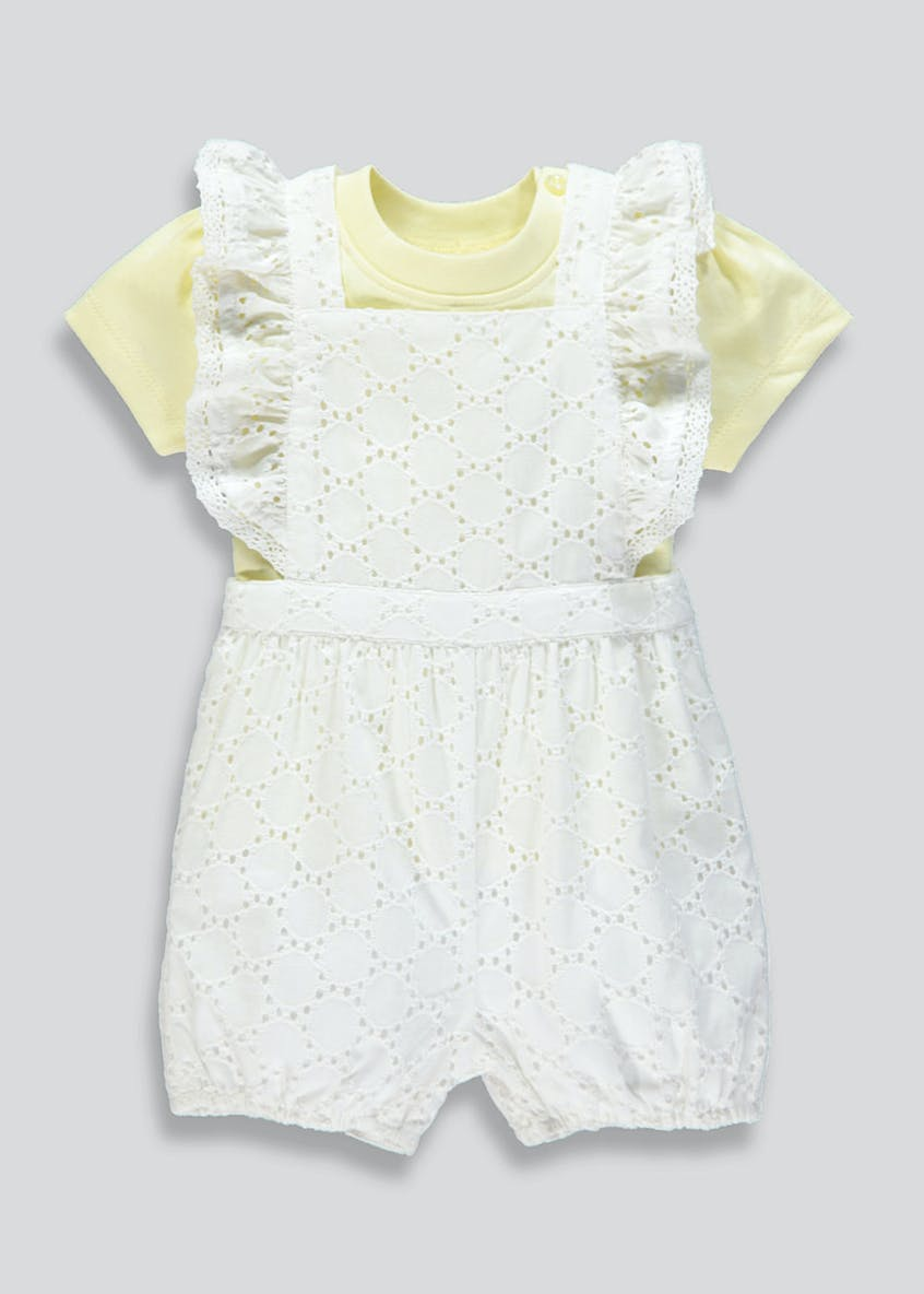 Girls Broderie Romper & T-Shirt Set (Newborn-18mths)