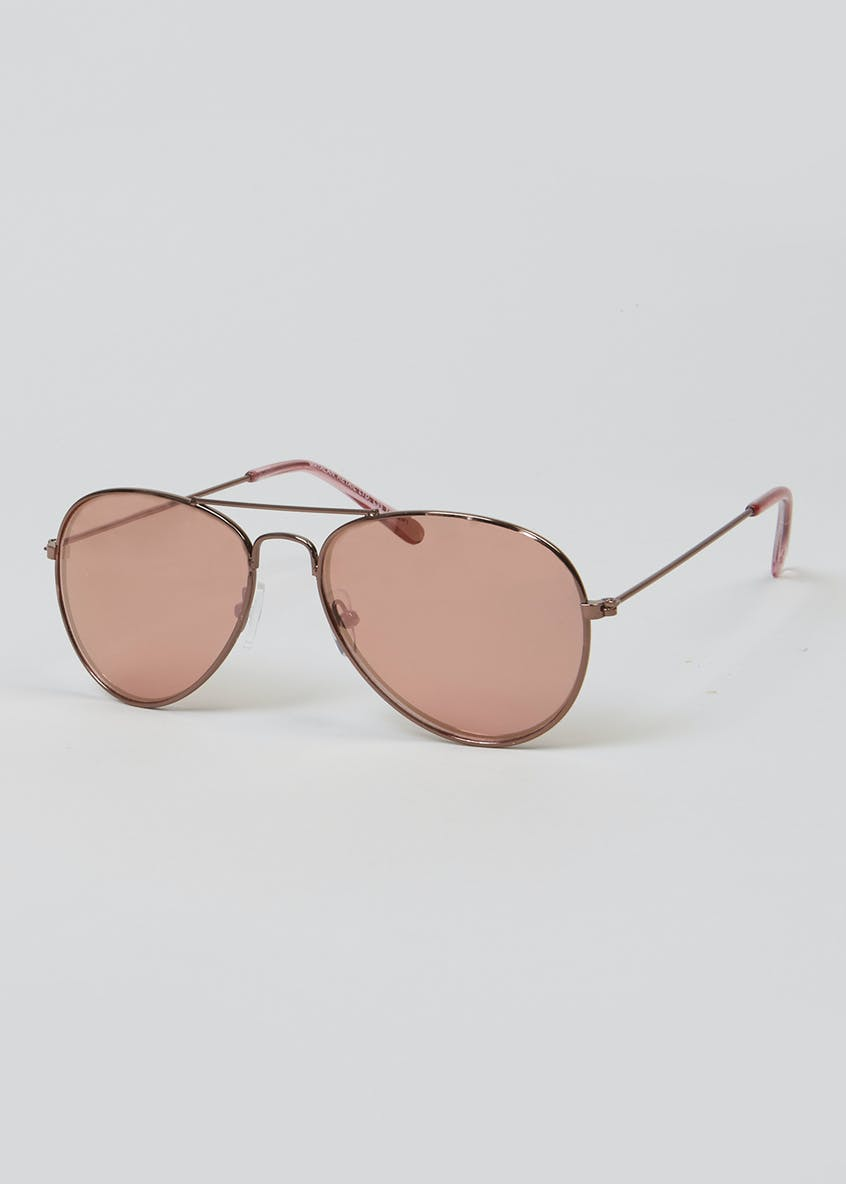 Kids Rose Gold Aviator Sunglasses (One Size)