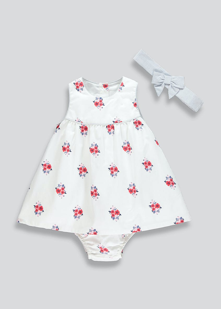 Girls Floral Dress & Knickers with Headband (Newborn-18mths)