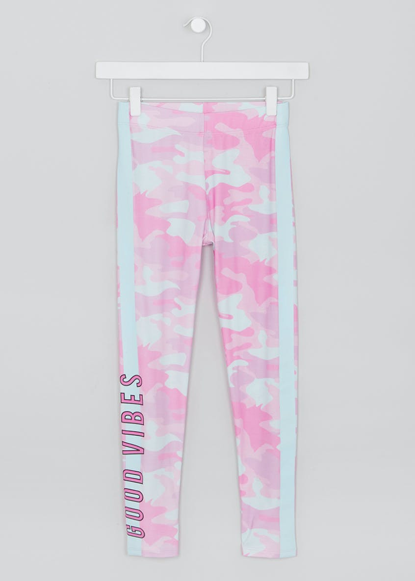 Girls Candy Couture Camo Slogan Leggings (9-16yrs)