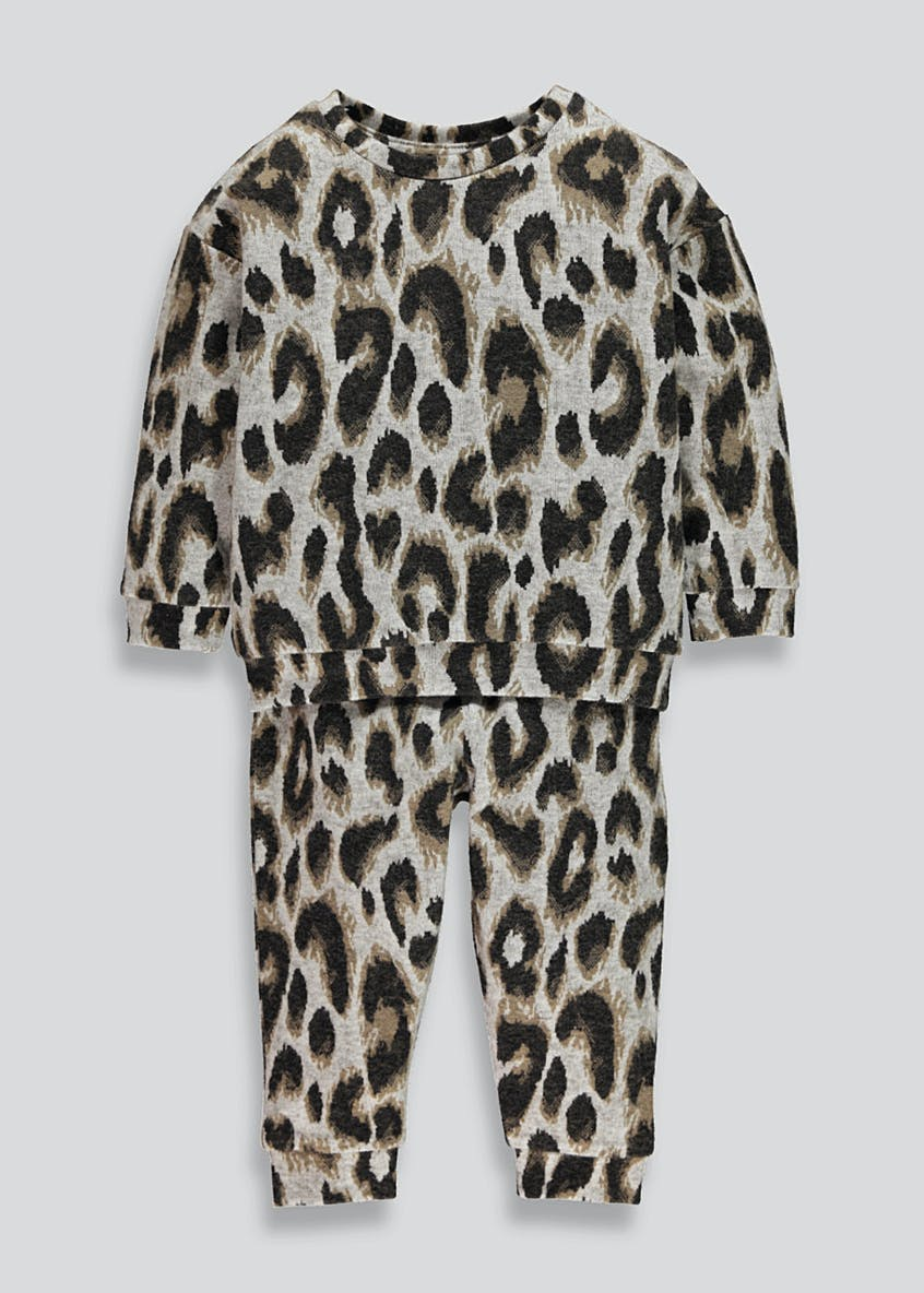 Mini Me Leopard Print Brushed Sweatshirt & Joggers Set (9mths-6yrs)