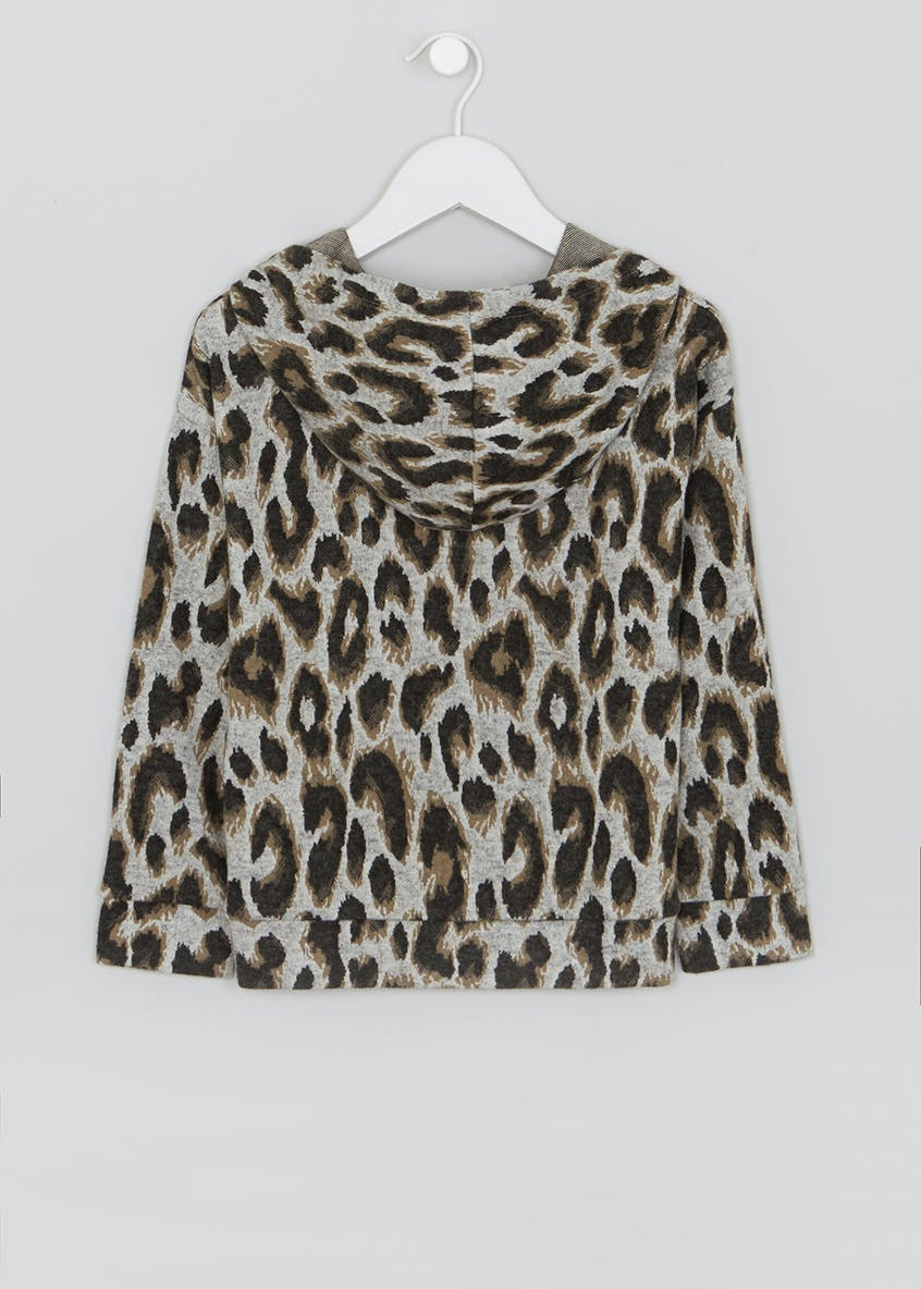 Mini Me Leopard Print Brushed Hoodie (4-13yrs)