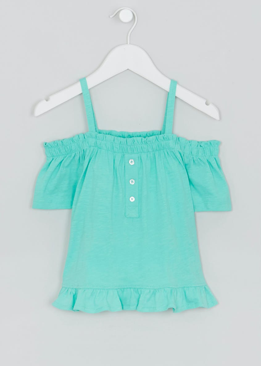 Girls Button Front Bardot Top (4-13yrs)