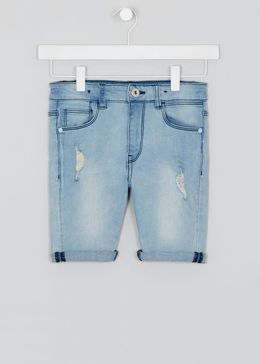 Kids Bleach Wash Skinny Denim Shorts (4-13yrs)