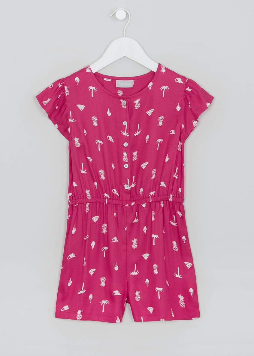 Girls Printed Viscose Playsuit (4-13yrs)