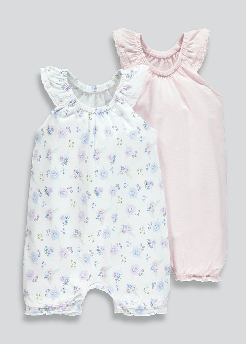 Girls 2 Pack Shortie Rompers (Newborn-18mths)