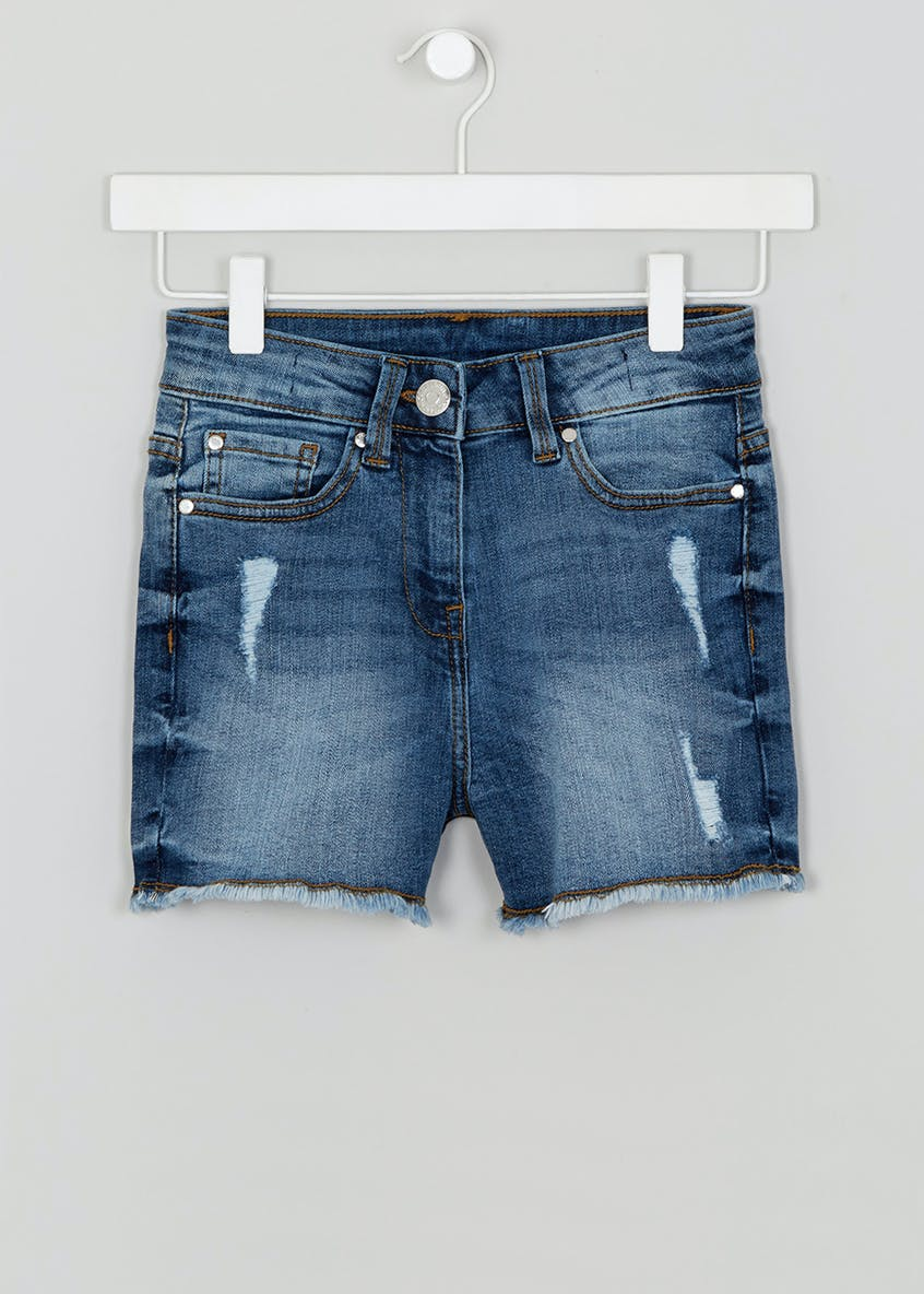 Girls Candy Couture Ripped Denim Shorts (9-16yrs)