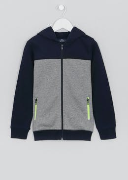 Boys Zip Through Panel Hoodie (4-13yrs)