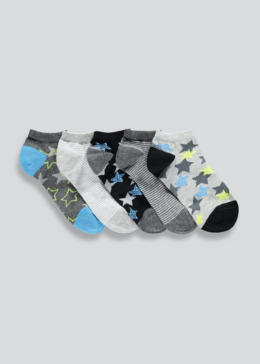 Kids 5 Pack Star & Stripe Trainer Socks (Younger 6-Older 6.5)