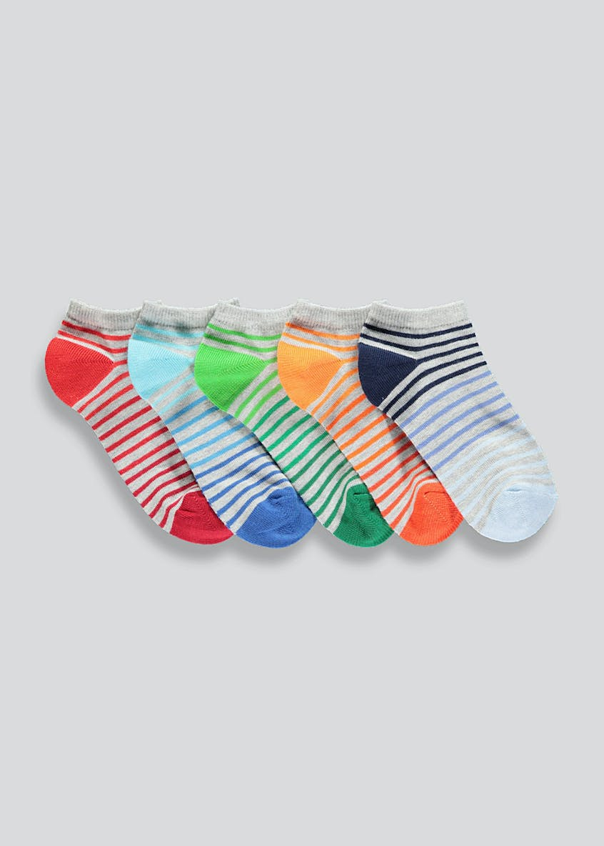 Kids 5 Pack Stripe Trainer Socks (Younger 6-Older 6.5)