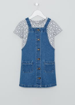 Mini Me Girls Button Front Denim Pinafore Dress (4-13yrs)
