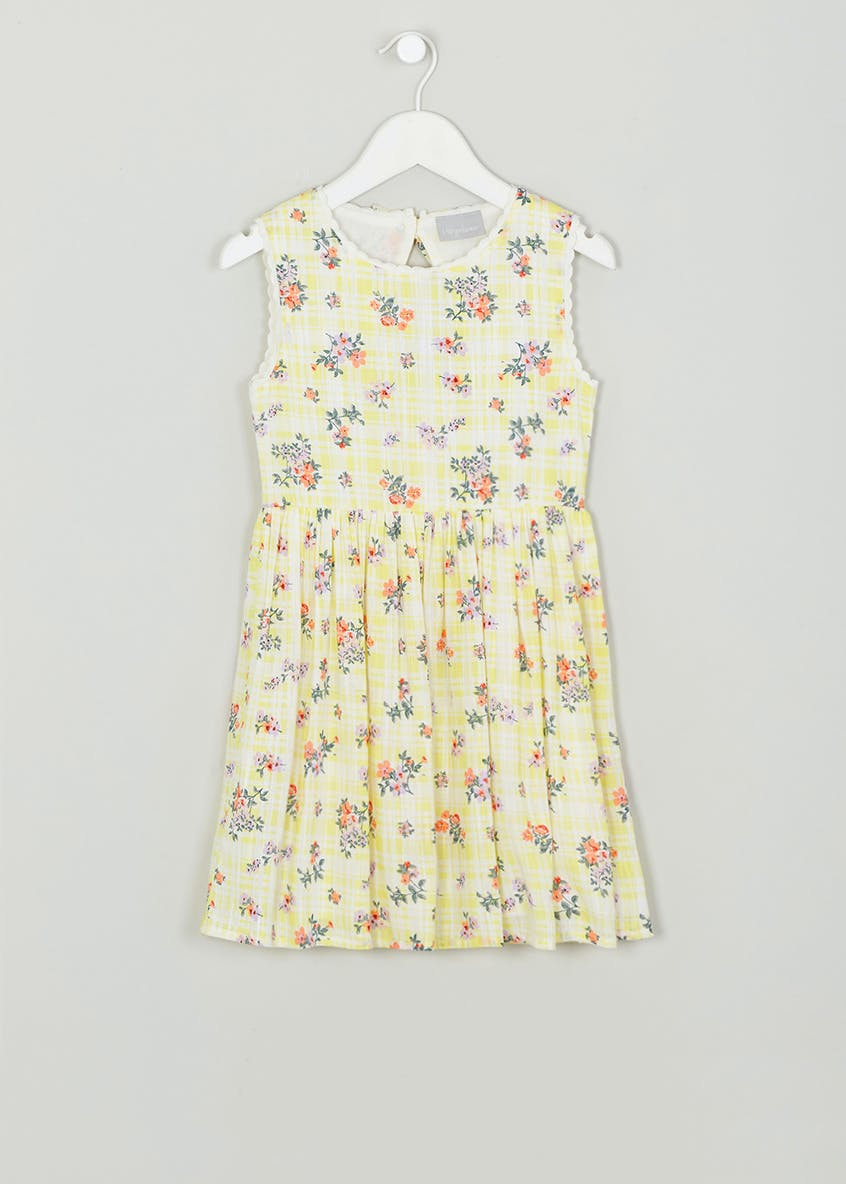 Girls Floral Check Dress (4-13yrs)