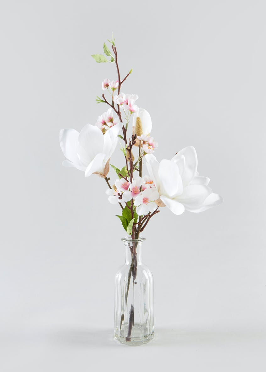 Magnolia in Glass Vase (55cm x 8cm x 8cm)