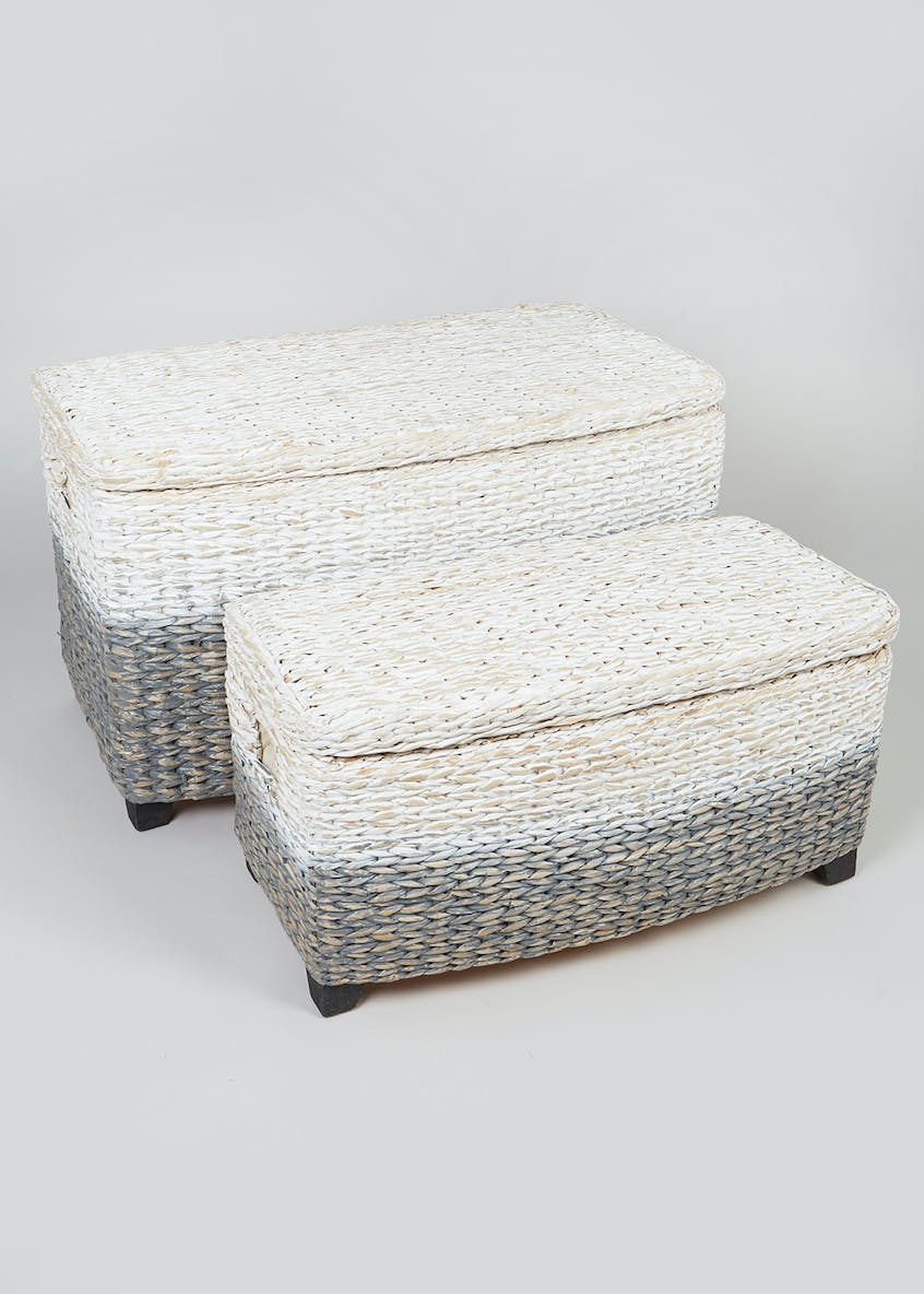 Set of 2 Ombre Woven Storage Trunks