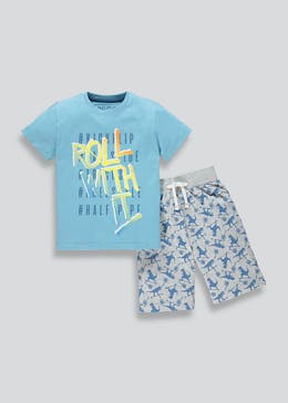Kids Dinosaur Slogan Pyjama Set (4-13yrs)