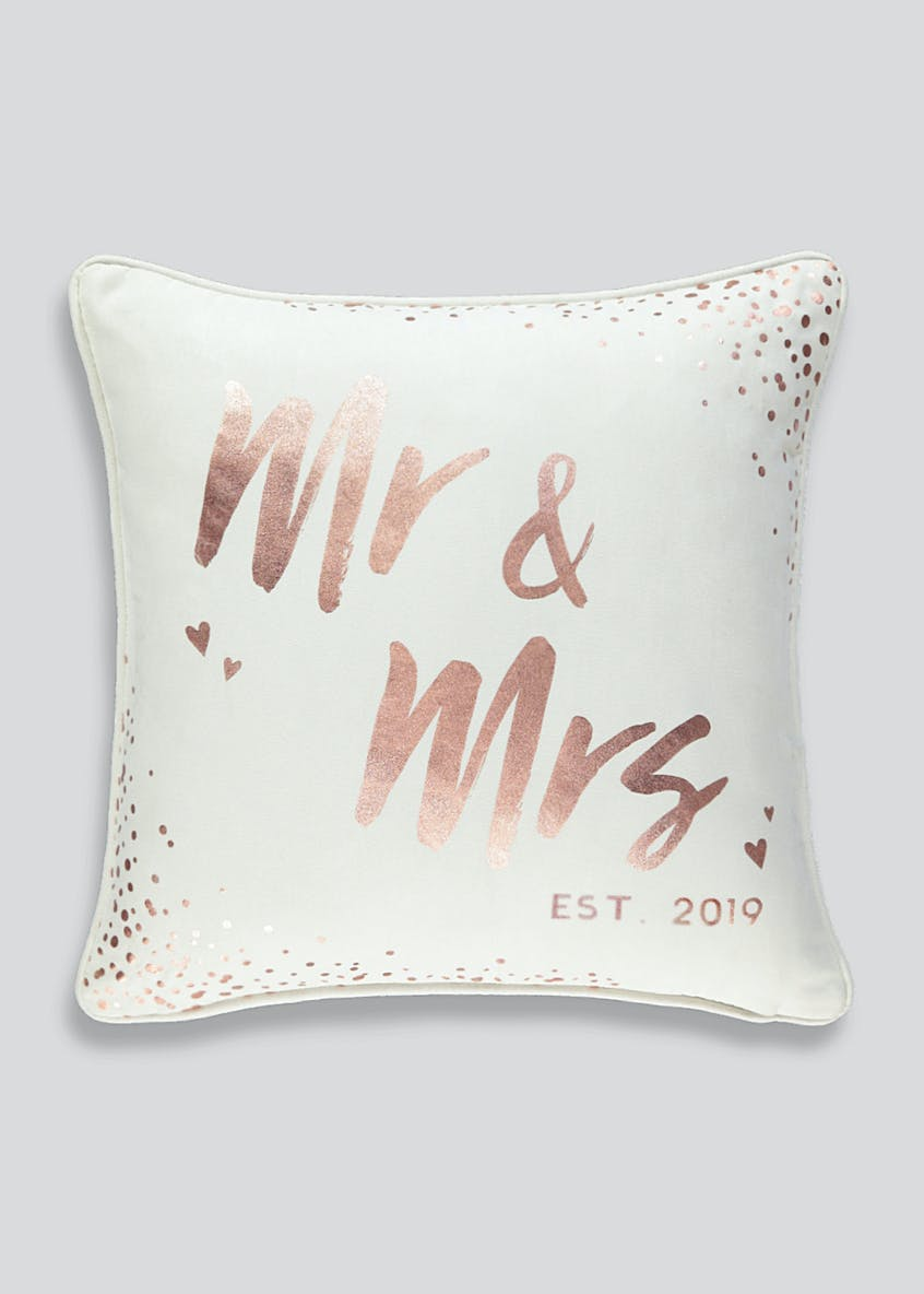 Mr & Mrs 2019 Foil Slogan Cushion (43cm x 43cm)