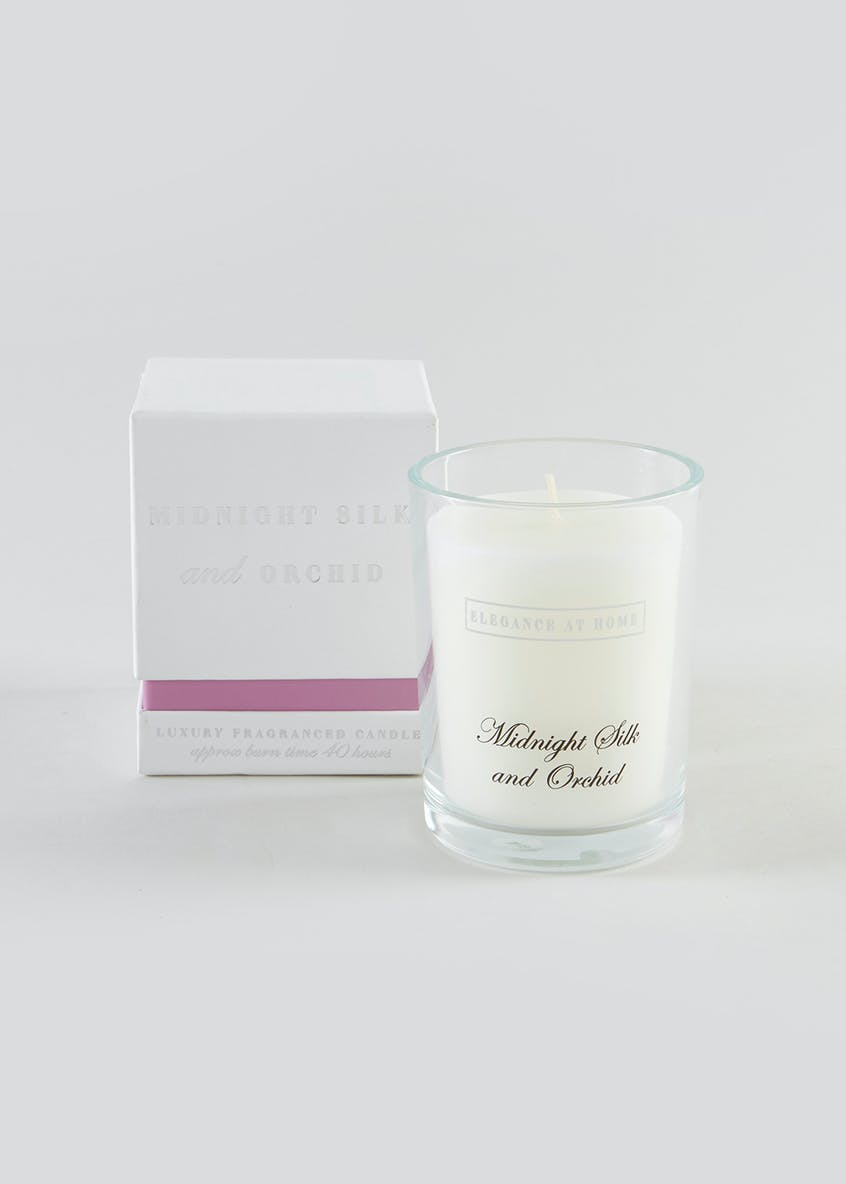 Midnight Silk & Orchid Scented Glass Candle