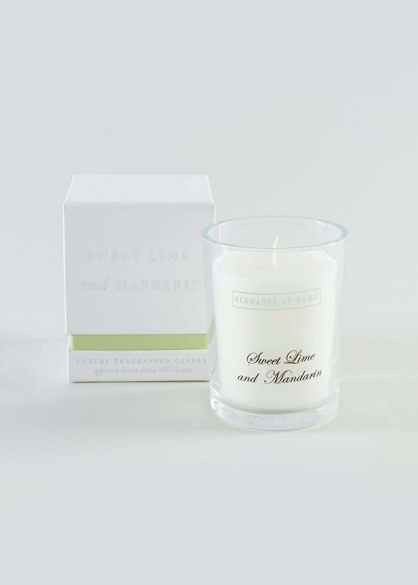 Lime Basil & Mandarin Scented Glass Candle