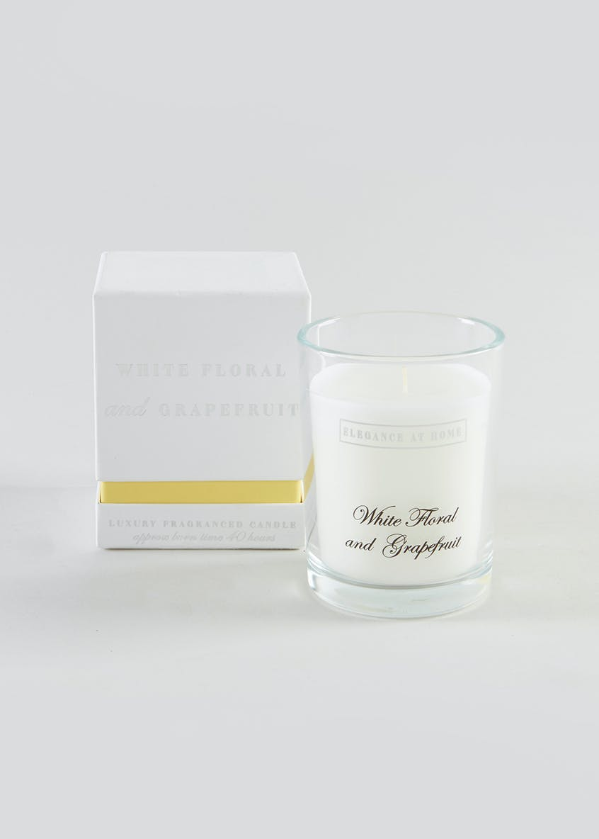 White Floral & Grapefruit Scented Glass Candle