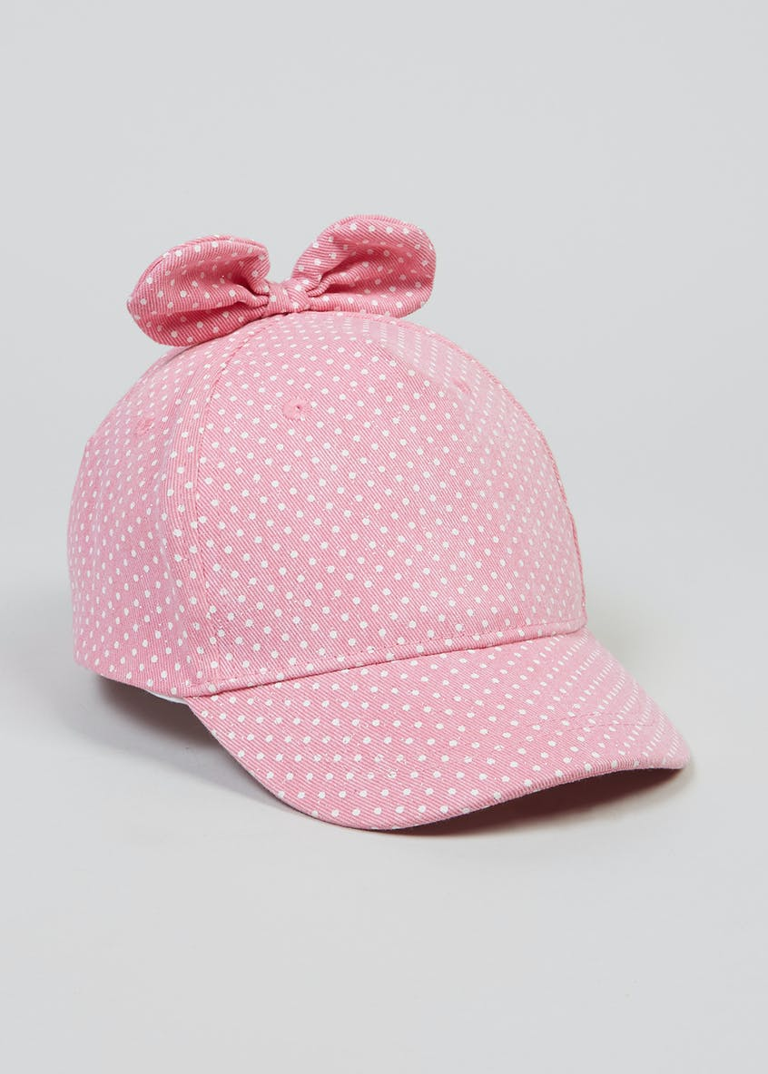 Girls Polka Dot Bow Canvas Cap (6mths-4yrs)
