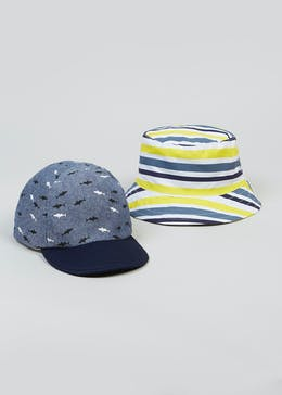 Kids 2 Pack Shark Cap & Sun Hat (6mths-4yrs)