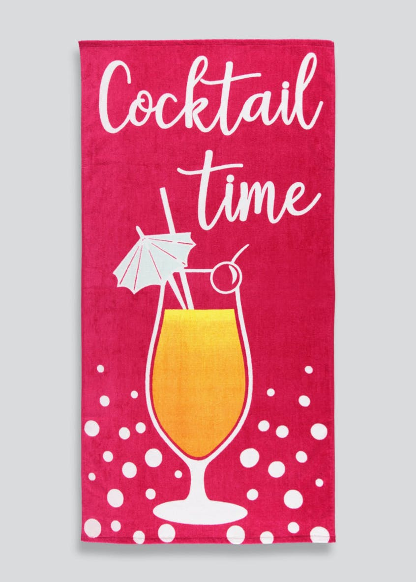 Cocktail Slogan Beach Towel (150cm x 75cm)