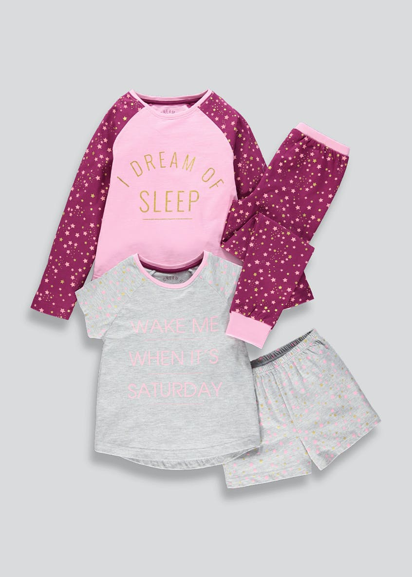 Girls 2 Pack Slogan Pyjamas (4-13yrs)