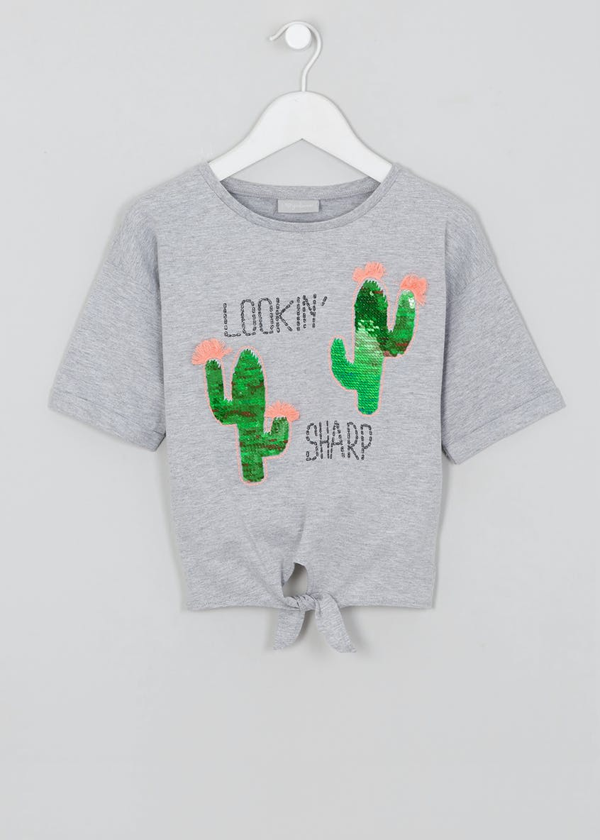 Girls Sequin Cactus T-Shirt (4-13yrs)