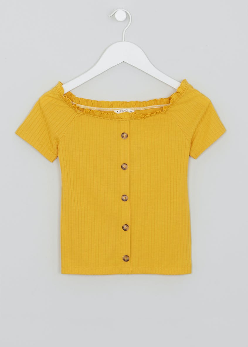 Girls Candy Couture Short Sleeve Bardot Top (9-16yrs)