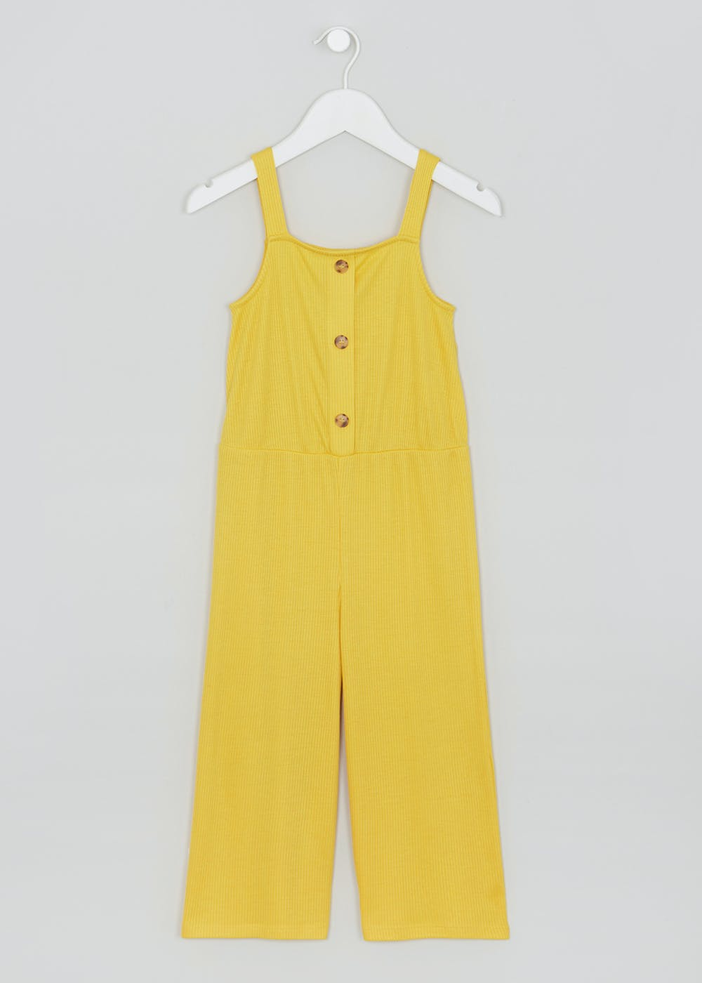 d0416cca0a Girls Ribbed Button Front Jumpsuit (4-13yrs) – Yellow – Matalan