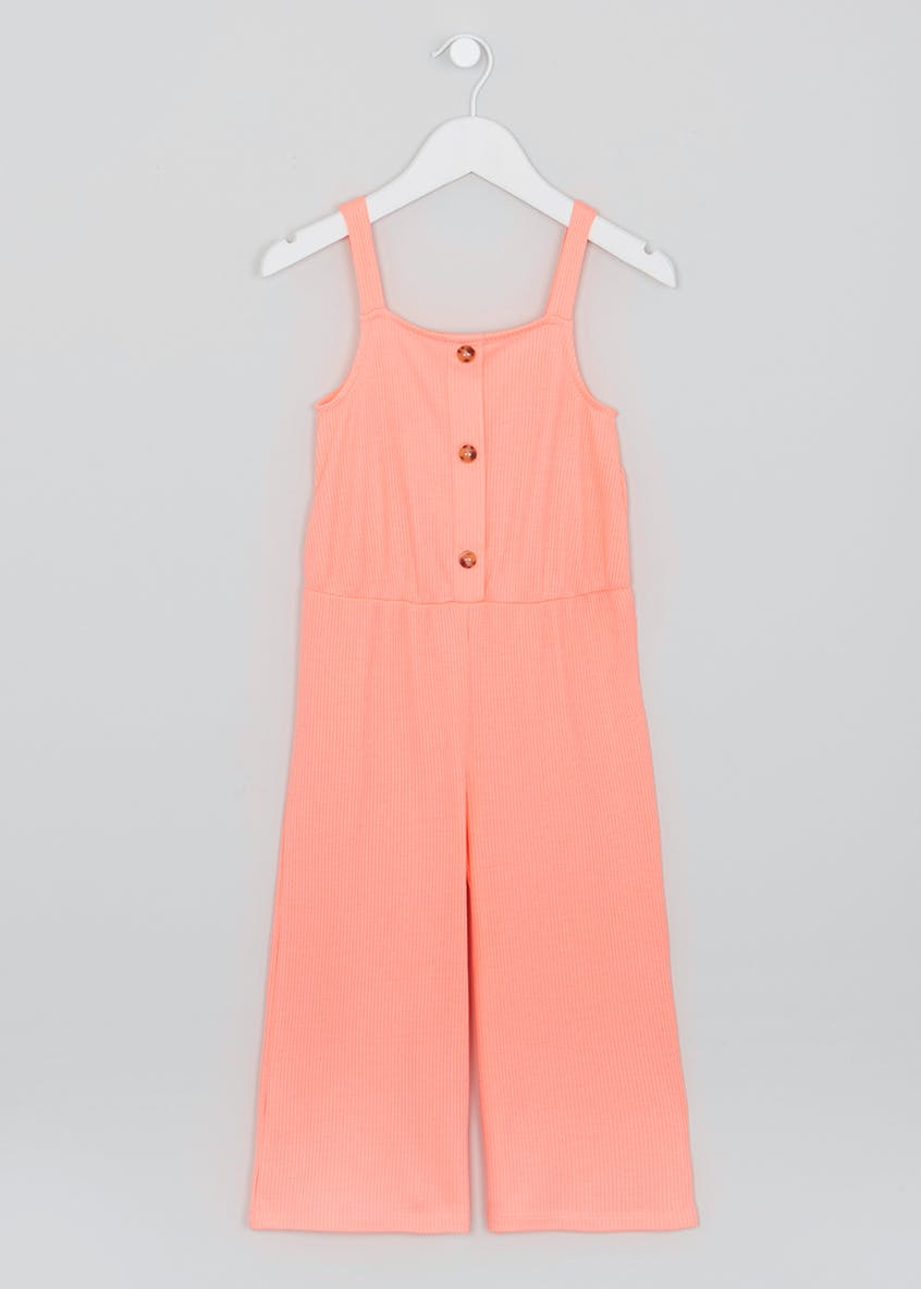 Girls Ribbed Button Front Jumpsuit (4-13yrs)