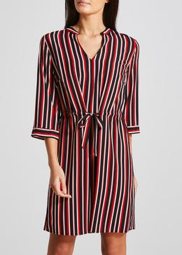 Stripe Tie Waist Shirt Dress