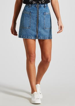 Zip Through Denim Skirt