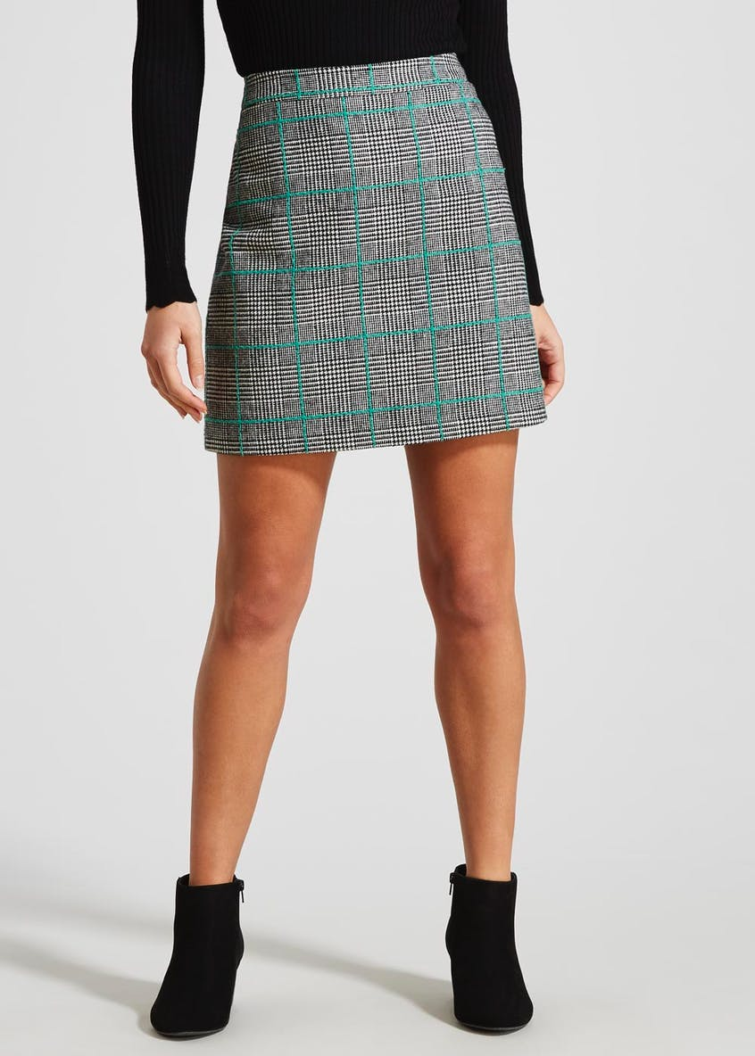 Papaya Petite Check A-Line Skirt