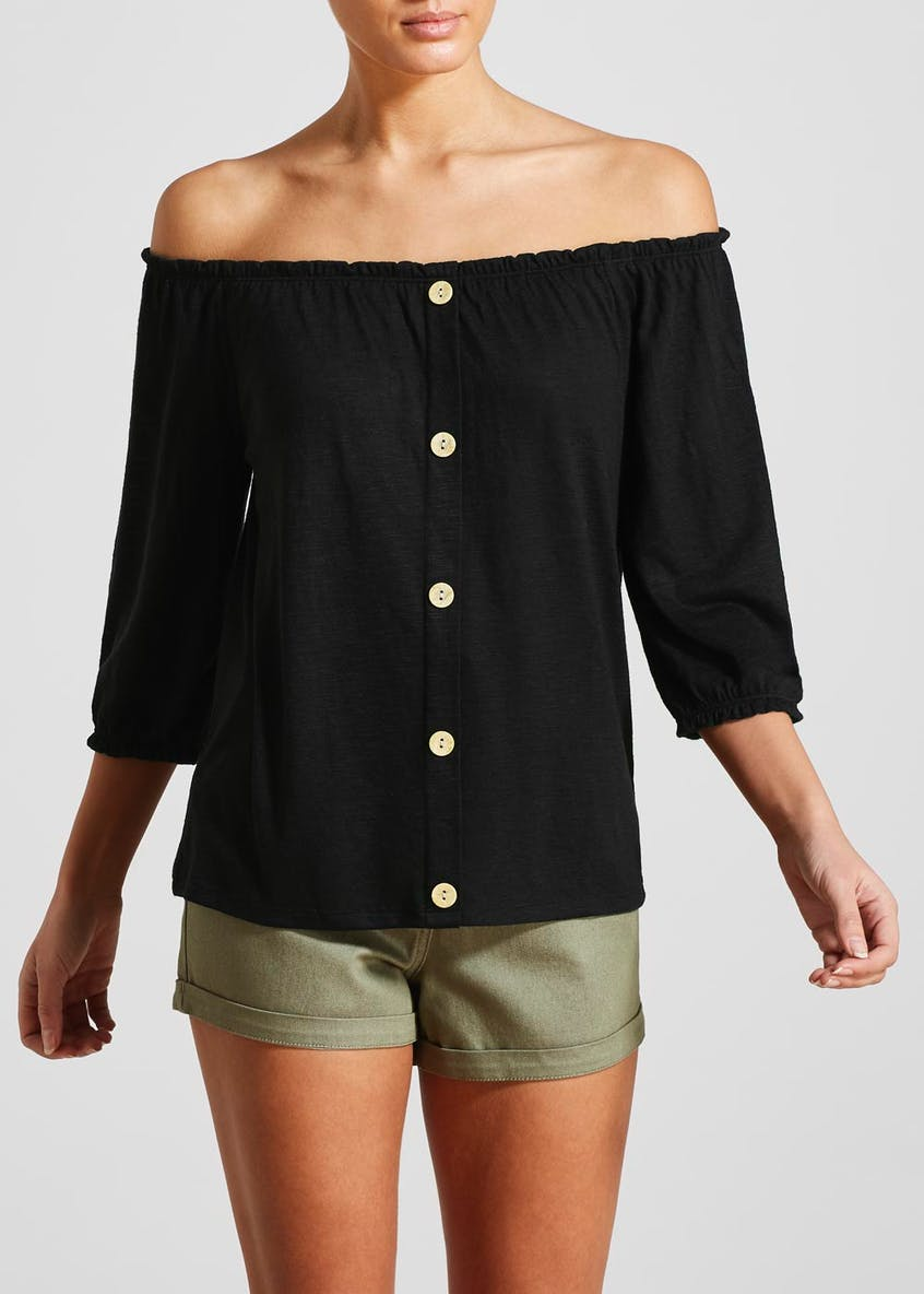 Button Front Bardot Top