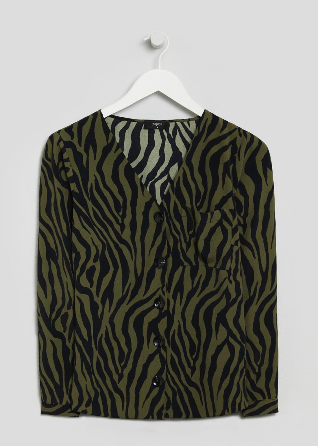 Zebra Print Button Front Shirt