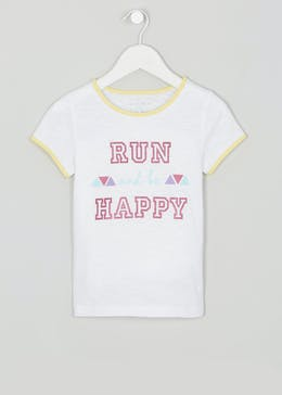 Girls Souluxe Run Slogan Sports T-Shirt (4-13yrs)