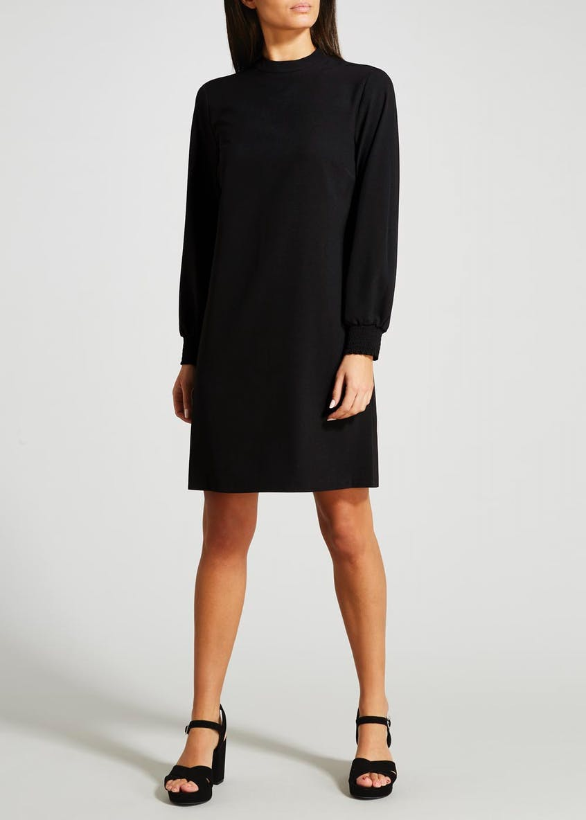 Shirred Cuff High Neck Dress