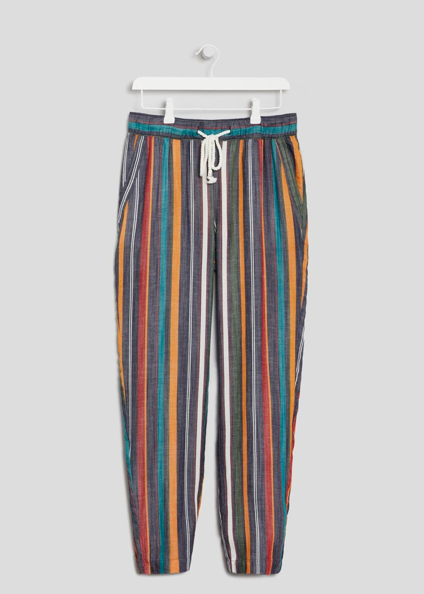 Stripe Linen Tapered Trousers