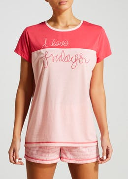 Fridays Slogan Short Pyjama Set