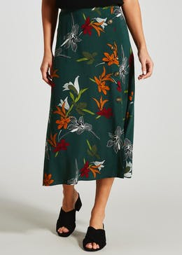 Floral Button Midi Skirt
