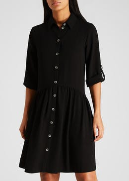 Button Front Smock Shirt Dress
