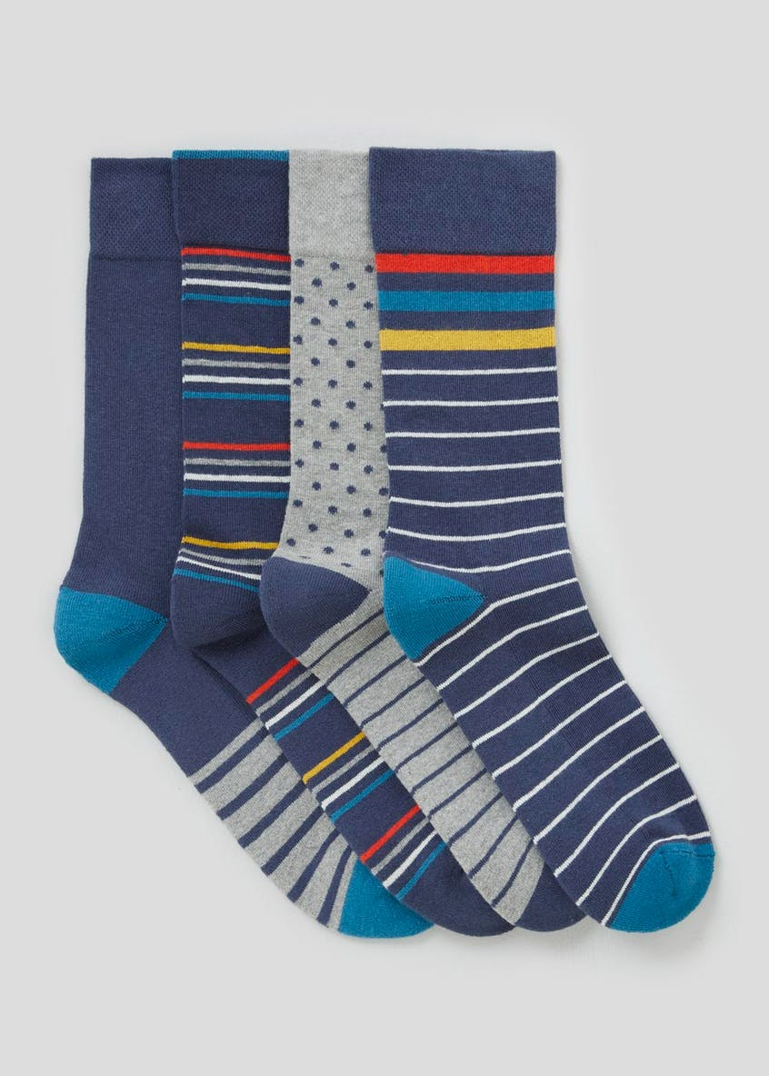 4 Pack Spot & Stripe Comfort Socks