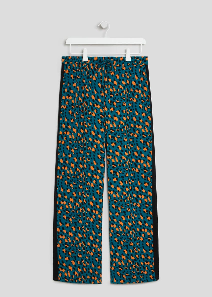 Animal Print Wide Leg Trousers