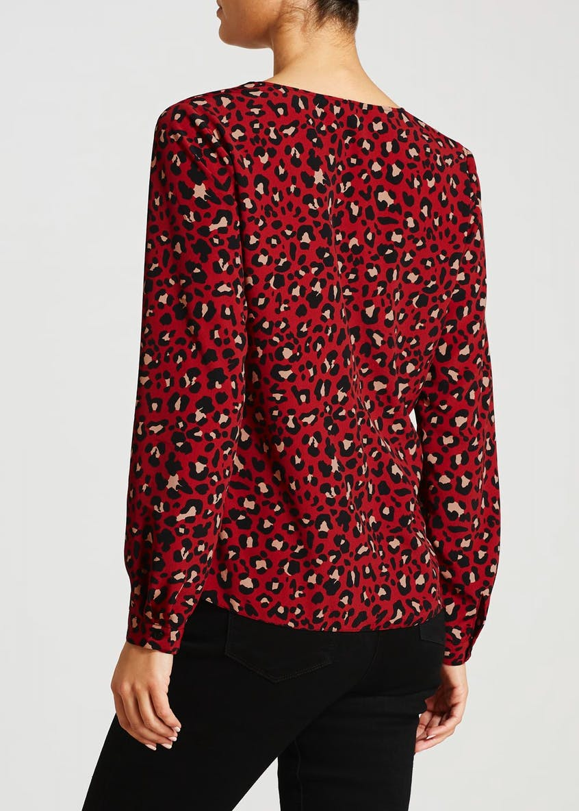 Animal Print Button Front Shirt