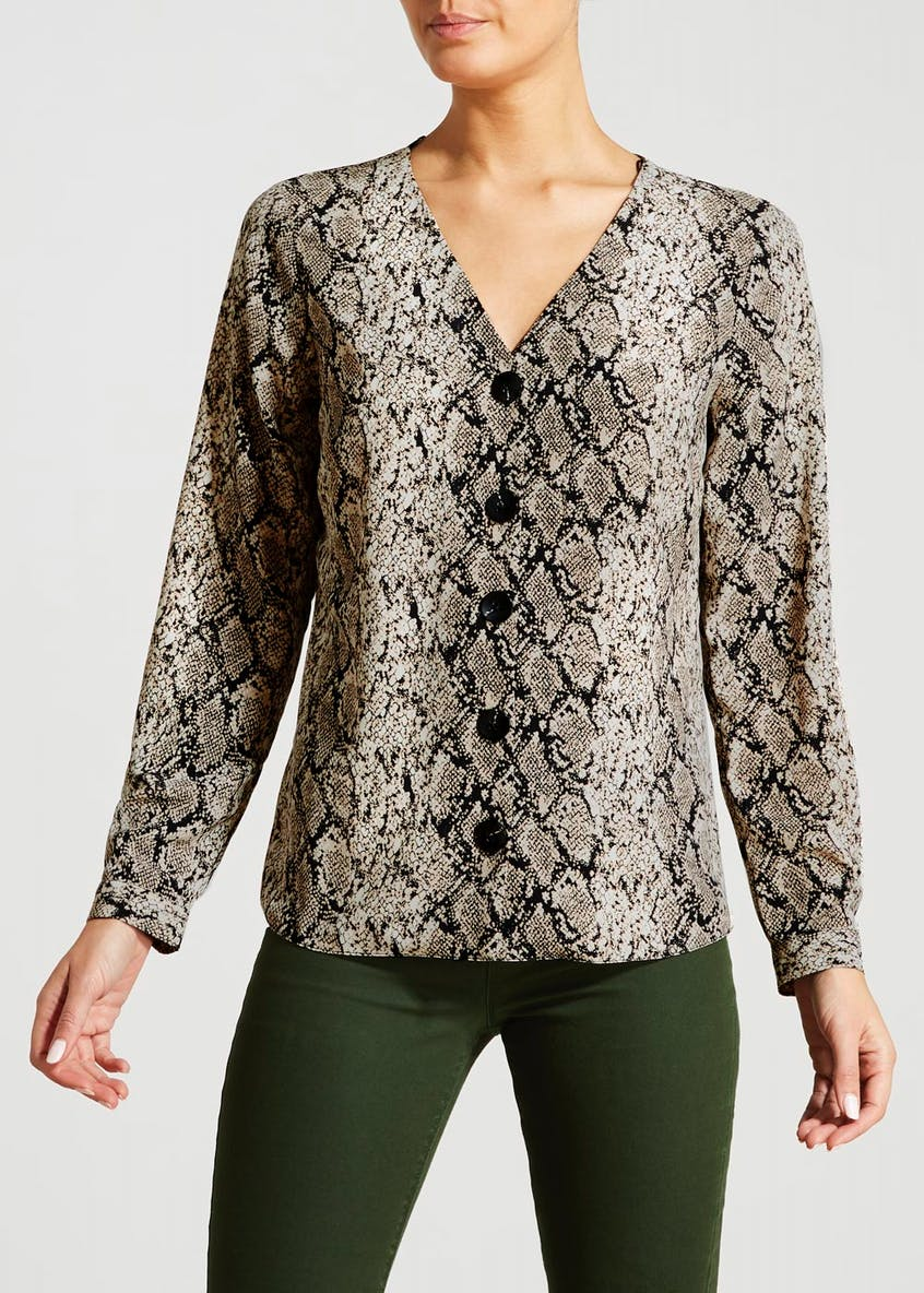 Snake Print Button Front Shirt